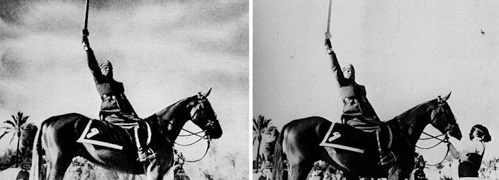 The horse handler was removed from this portrait of Italian dictator Benito Mussolini to appear more heroic.