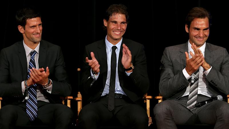 Novak Djokovic, Rafael Nadal and Roger Federer, pictured here at an event in 2010.