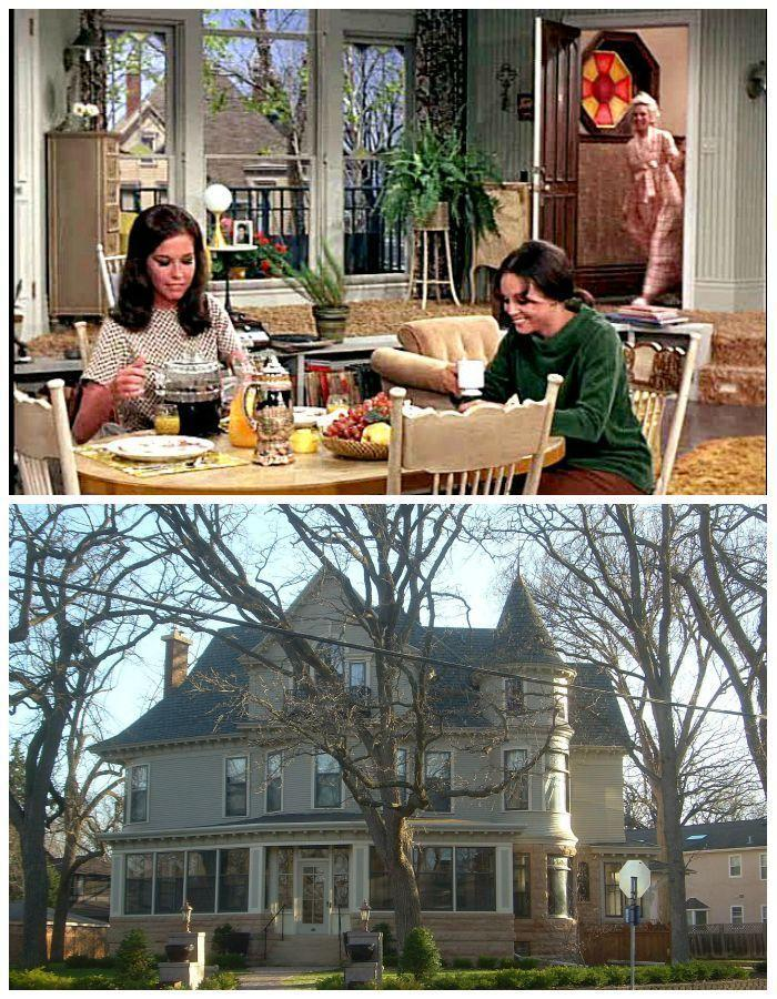 """<p>In early episodes of <em>The Mary Tyler Moore Show</em>, you clearly see the camera zoom to the huge windows of Mary's third-floor pad, and from the <a href=""""https://en.wikipedia.org/wiki/The_Mary_Tyler_Moore_Show#/media/File:Mary_Tyler_Moore_House_2.jpg"""" rel=""""nofollow noopener"""" target=""""_blank"""" data-ylk=""""slk:home's exterior"""" class=""""link rapid-noclick-resp"""">home's exterior</a>, it doesn't seem like Rhoda could have lived further upstairs. <a href=""""http://hookedonhouses.net/2009/07/05/mary-richards-apartment-on-the-mary-tyler-moore-show/"""" rel=""""nofollow noopener"""" target=""""_blank"""" data-ylk=""""slk:Fans suggest"""" class=""""link rapid-noclick-resp"""">Fans suggest</a> that Rhoda lived in the top of the home's """"tower,"""" which offers a helpful (but still slightly fishy) explanation.</p><p>Another fun fact: The family that owned the home filmed for exterior shots were so fed up with all of the attention, that eventually <a href=""""http://www.answers.com/article/1290237/11-things-you-didnt-know-about-the-mary-tyler-moore-show"""" rel=""""nofollow noopener"""" target=""""_blank"""" data-ylk=""""slk:hung an &quot;Impeach Nixon&quot; banner"""" class=""""link rapid-noclick-resp"""">hung an """"Impeach Nixon"""" banner</a> to thwart any more filming efforts.</p>"""