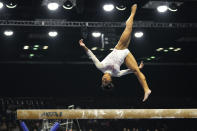 Jordan Chiles performs her balance-beam routine during the U.S. Classic gymnastics competition in Indianapolis, Saturday, May 22, 2021. (AP Photo/AJ Mast)