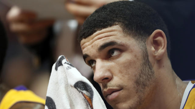"Lakers rookie <a class=""link rapid-noclick-resp"" href=""/ncaab/players/136151/"" data-ylk=""slk:Lonzo Ball"">Lonzo Ball</a> hasn't played since Jan. 13 with a knee injury. (AP)"