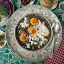 <p>The inspiration for this green shakshuka recipe comes from HaBasta, a popular restaurant on the edge of Carmel Market in Tel Aviv, where the shakshuka is packed with green chard and spinach and a little hot pepper provides just a touch of spice. Serve with pita or crusty bread to sop up the sauce for a quick dinner or for brunch.</p>
