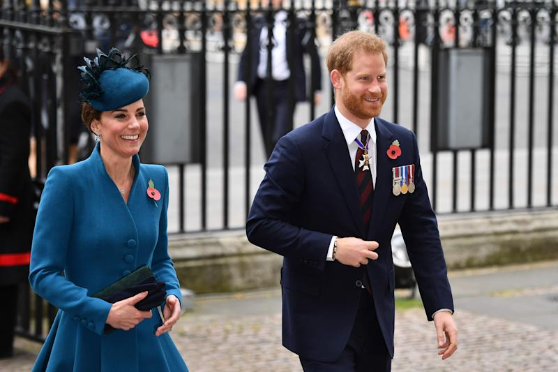 Duchess Kate and Prince Harry were all smiles at an appearance together at an Anzac Day service in Westminster Abbey on Thursday.
