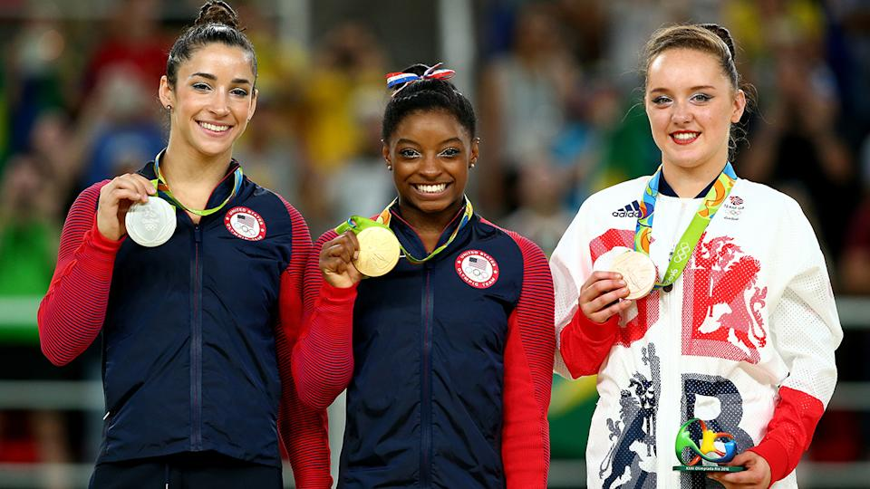 Aly Raisman, Simone Biles and Amy Tinkler, pictured here at the Rio 2016 Olympics.