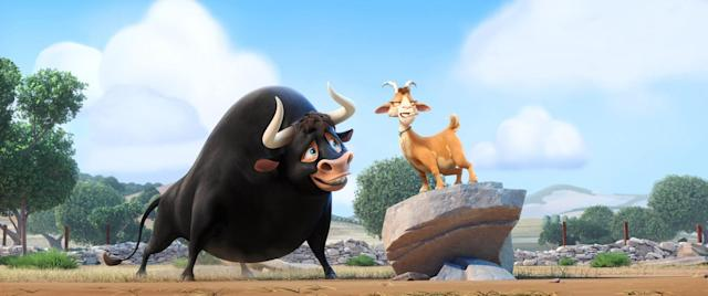 Lupe the calming goat (voiced by Kate McKinnon) with Ferdinand the bull (voiced by John Cena) in <em>Ferdinand.</em> (Photo: 20th Century Fox c/o Everett Collection)