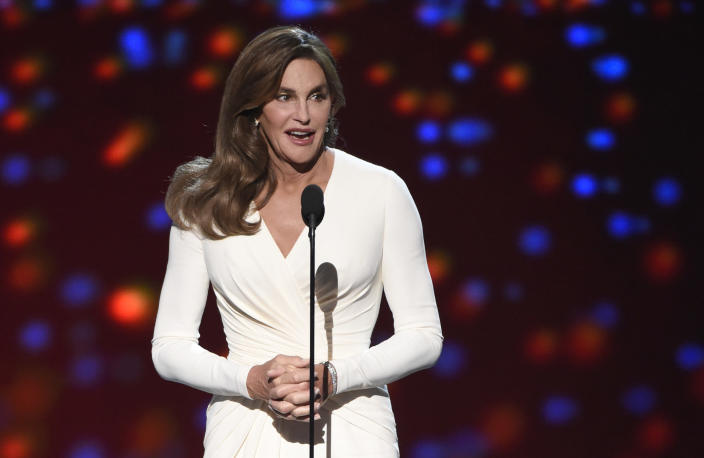 FILE - This July 15, 2015 file photo shows Caitlyn Jenner accepting the Arthur Ashe award for courage at the ESPY Awards in Los Angeles. (Photo by Chris Pizzello/Invision/AP, File)
