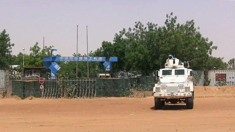 A UN truck parked in front of a peacekeeping forces camp on June 1, 2016 in Gao