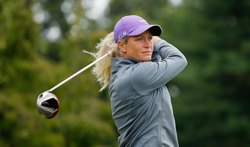 Suzann Pettersen of Norway hits her tee shot on the second hole during the third round of the Wegmans LPGA Championship, at Monroe Golf Club in Pittsford, New York, on August 16, 2014 (AFP Photo/Scott Halleran)