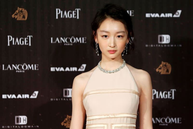 FILE PHOTO: Actor Zhou Dongyu poses on the red carpet at the 53rd Golden Horse Awards in Taipei, Taiwan