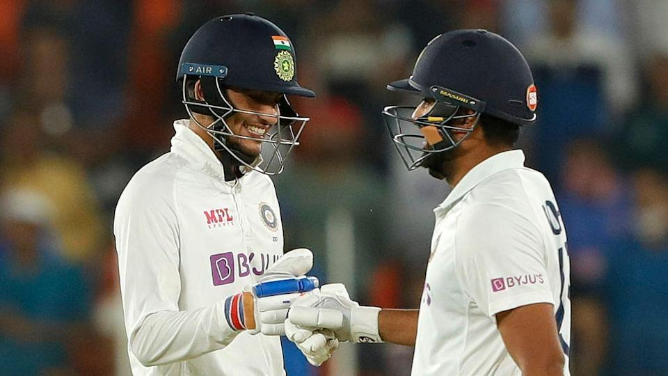 Shubman Gill and Rohit Sharma during the chase of 49 on Day 2 of the third Test against England in Ahmedabad.