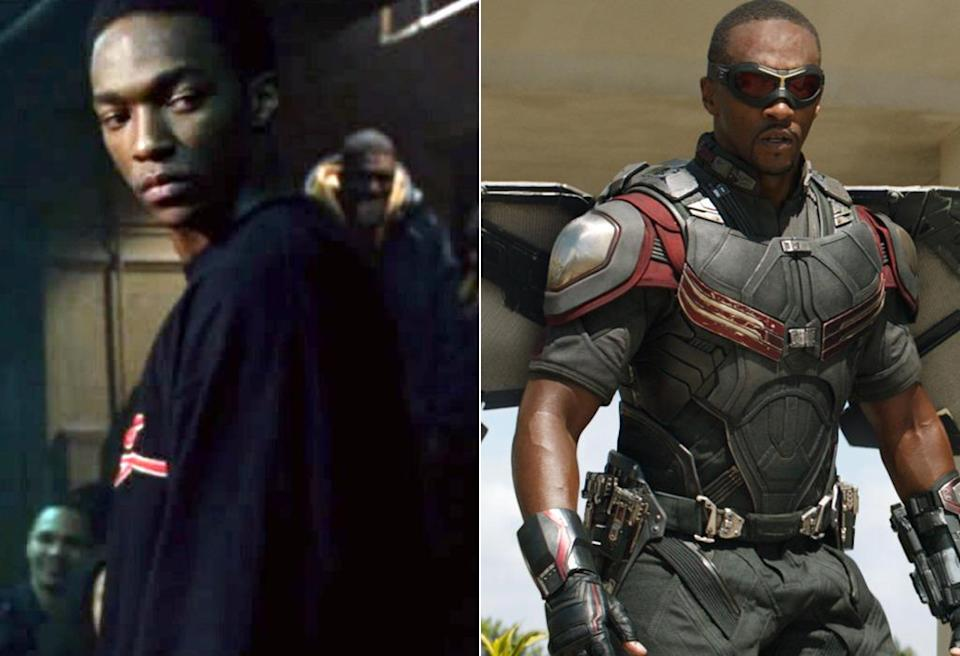 <p>Before he donned wings as Falcon in <i>Captain America: The Winter Soldier</i>, Mackie starred as Eminem's rap nemesis Papa Doc in the singer's biopic <i>8 Mile</i>. <i>(Photo: Universal/Marvel)</i></p>