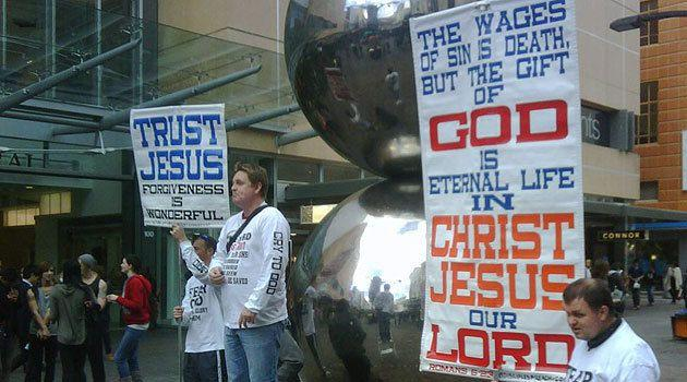 The Street Church preachers have returned to the 'Mall's Balls' in Adelaide this afternoon.