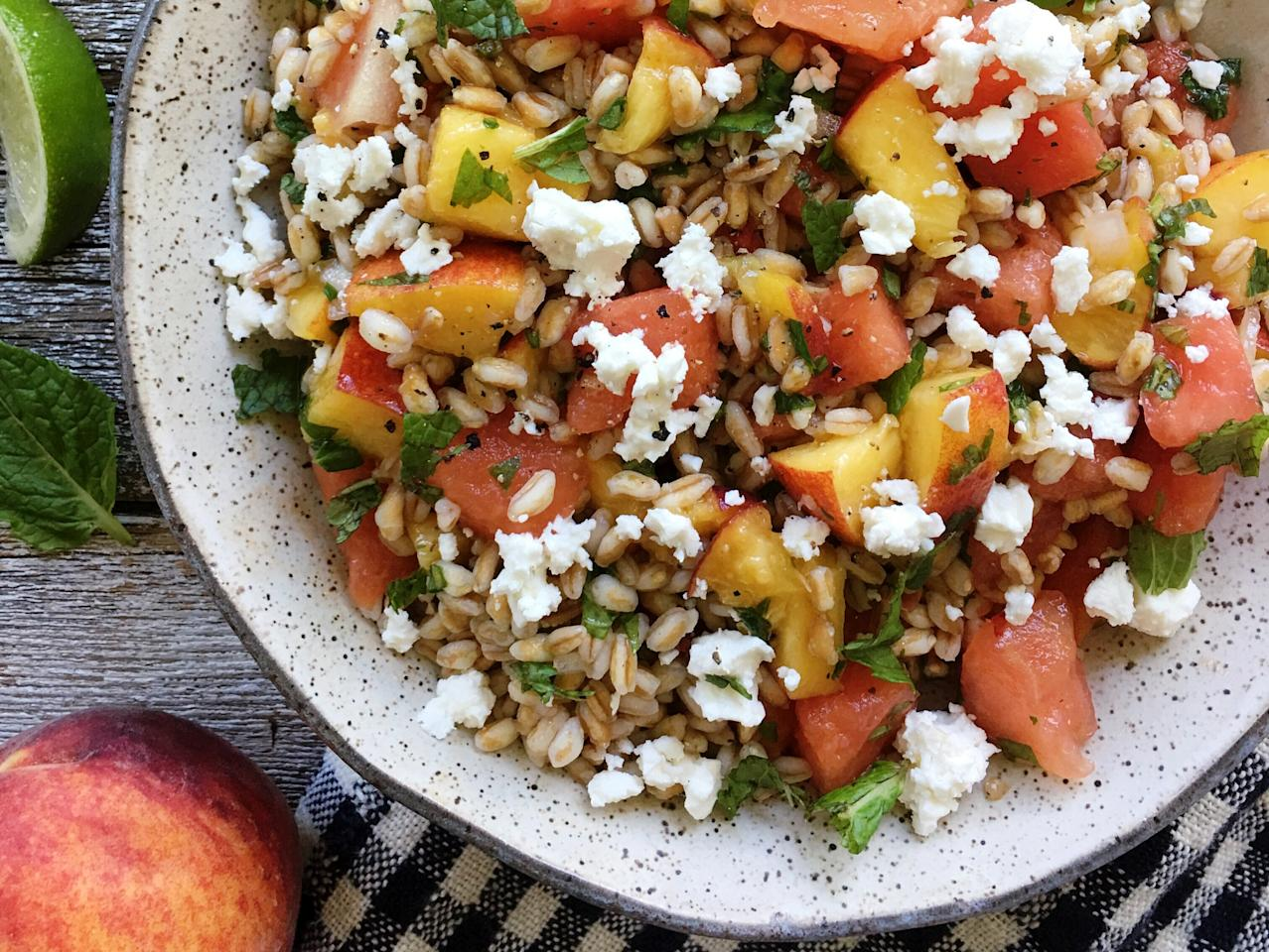 "<p>Toasting the farro before boiling it brings out an added layer of rich nuttiness to this hearty grain salad. Complemented by fresh herbs and sweet, juicy peaches and watermelon, this summertime side dish is the ultimate refreshing and nutritious bite you need. Serve it immediately, or let the flavors meld in the refrigerator for a couple hours (or overnight) and enjoy it cold.</p> <p><a href=""https://www.myrecipes.com/recipe/toasted-farro-salad-watermelon-peaches"">Toasted Farro Salad with Watermelon and Peaches Recipe</a></p>"