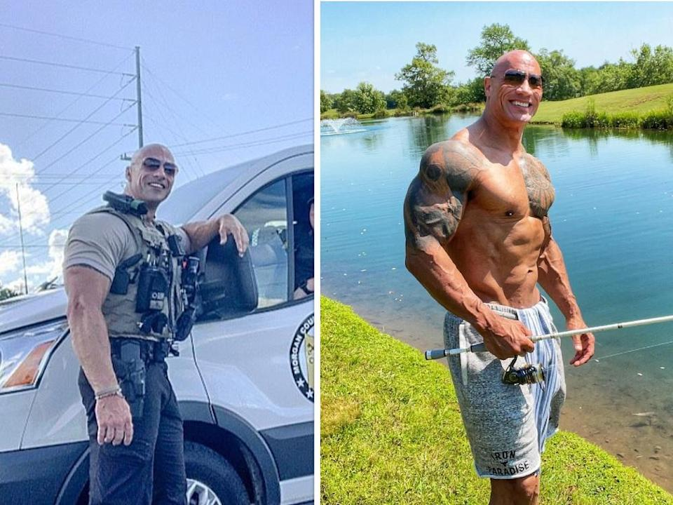 Wrestling superstar and celebrity, Dwayne 'The Rock' Johnson has found his doppelganger and their resemblance are uncanny. —Photo courtesy of Facebook/ Morgan County Sheriff's Office and Dwayne The Rock Johnson