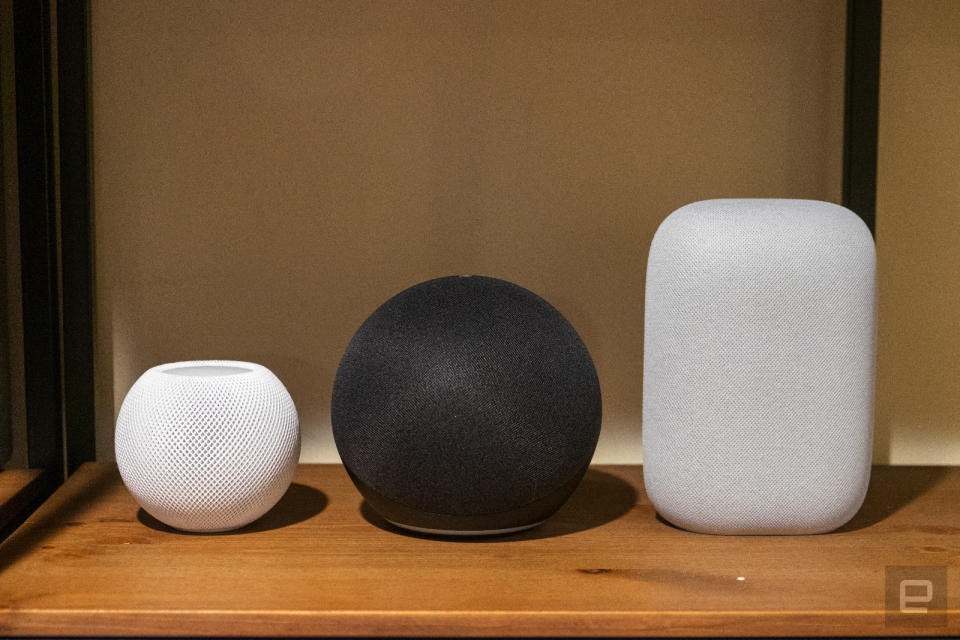 Apple HomePod mini, Amazon Echo (2020) and Google Nest Audio.