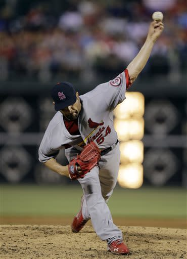 St. Louis Cardinals' Jaime Garcia pitches during the third inning of a baseball game against the Philadelphia Phillies, Friday, April 19, 2013, in Philadelphia. (AP Photo/Matt Slocum)