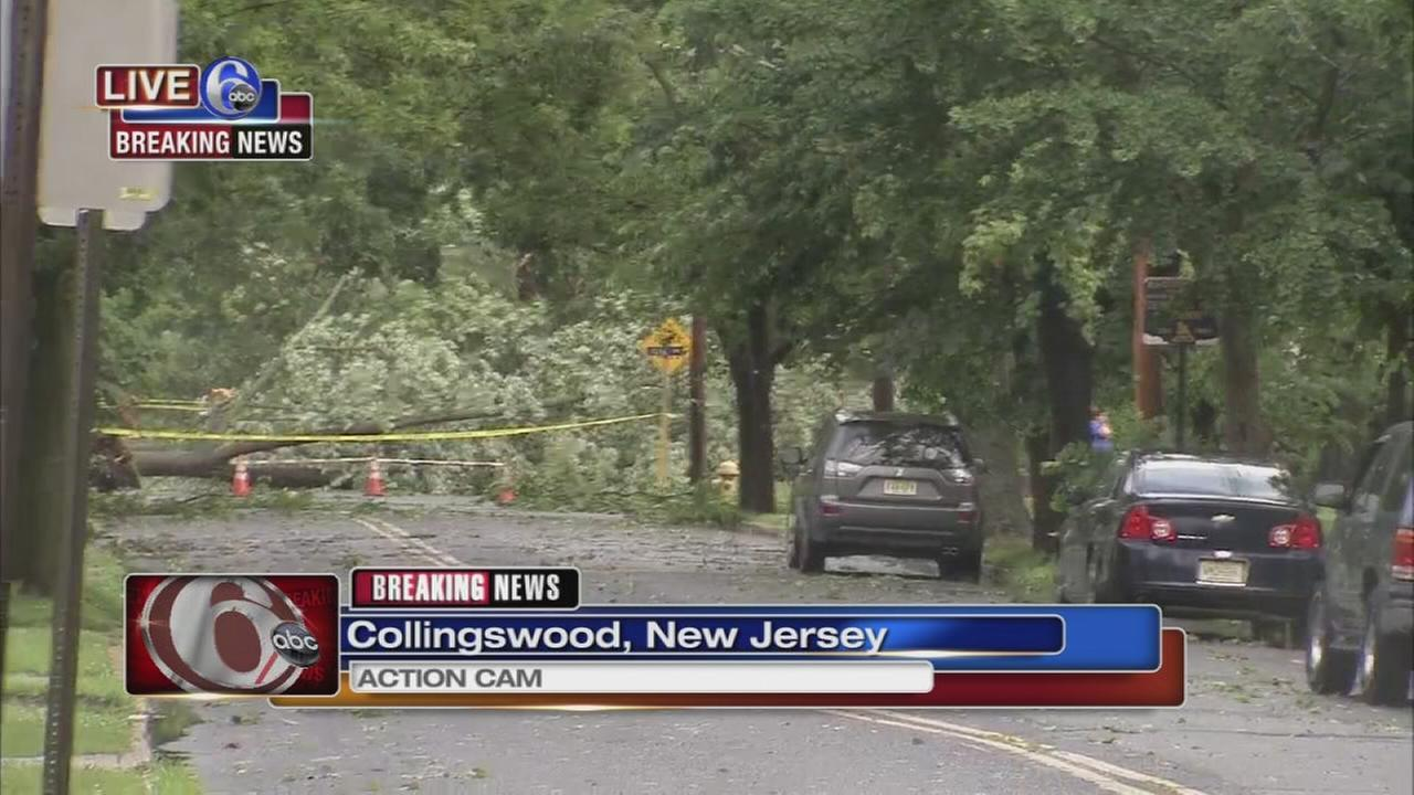 A powerful line of storms brought down trees and power lines and caused extensive damage in a number of communities across southern New Jersey early Saturday.