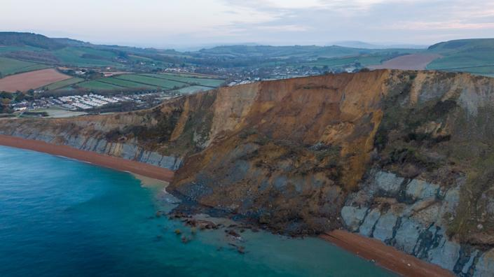The collapse has blocked off the beach between Seatown and Eype. (Getty)