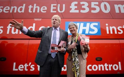 Boris Johnson standing in front of the Vote Leave bus