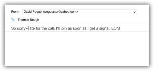 Email screen with message in the subject line