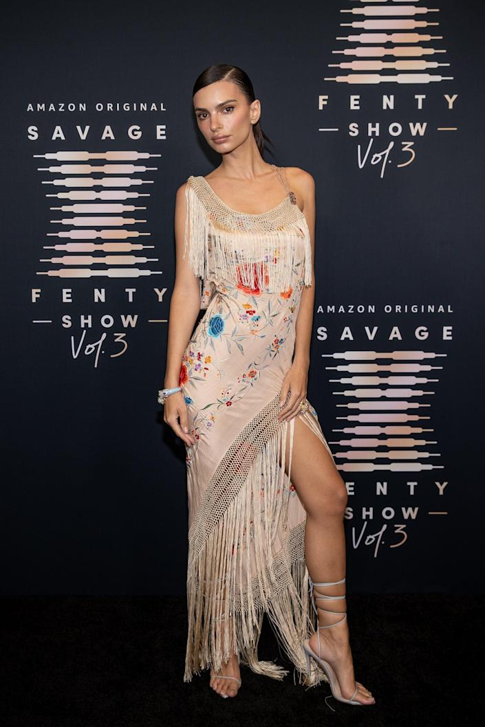 <p>Emily stunned in a fringe-trimmed look on the Savage X Fenty red carpet. </p>