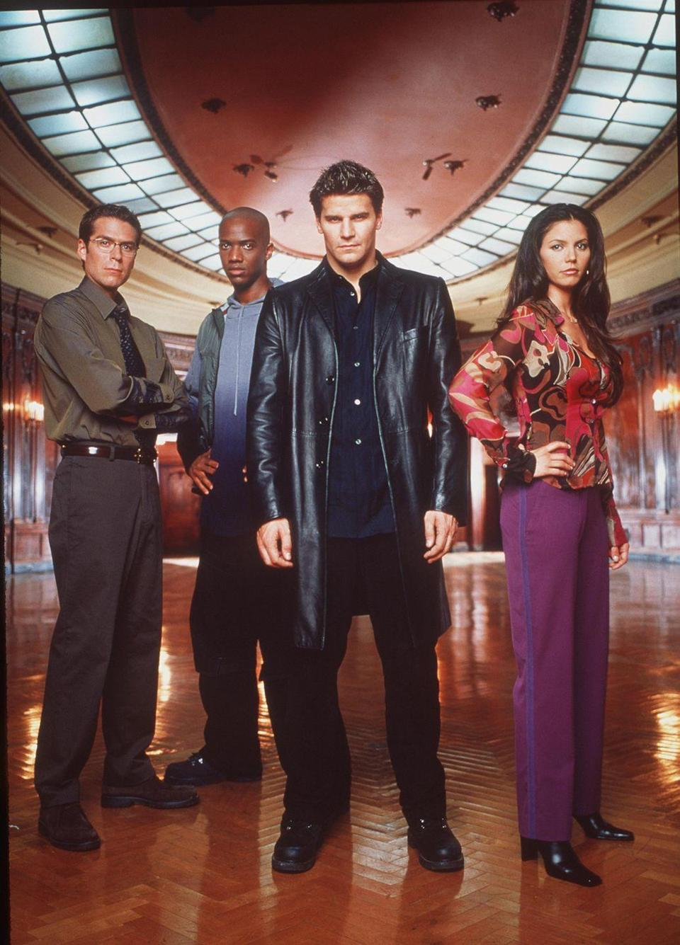 """<p>This spinoff from <em>Buffy the Vampire Slayer</em> picks up with Angel (played by David Boreanaz) as he moves to Los Angeles in the wake of his breakup with Buffy. Angel works as a private detective, trying to help the helpless and assuage his guilt for centuries of bad deeds. Along the way he must fight a host of other demonic forces that try to stop him. </p><p><strong>Where to Watch:</strong> <a href=""""https://www.hulu.com/series/angel-8034c900-f242-4cea-96ba-1c6f61f812af"""" rel=""""nofollow noopener"""" target=""""_blank"""" data-ylk=""""slk:Hulu"""" class=""""link rapid-noclick-resp"""">Hulu</a> <em>(five seasons)</em></p>"""