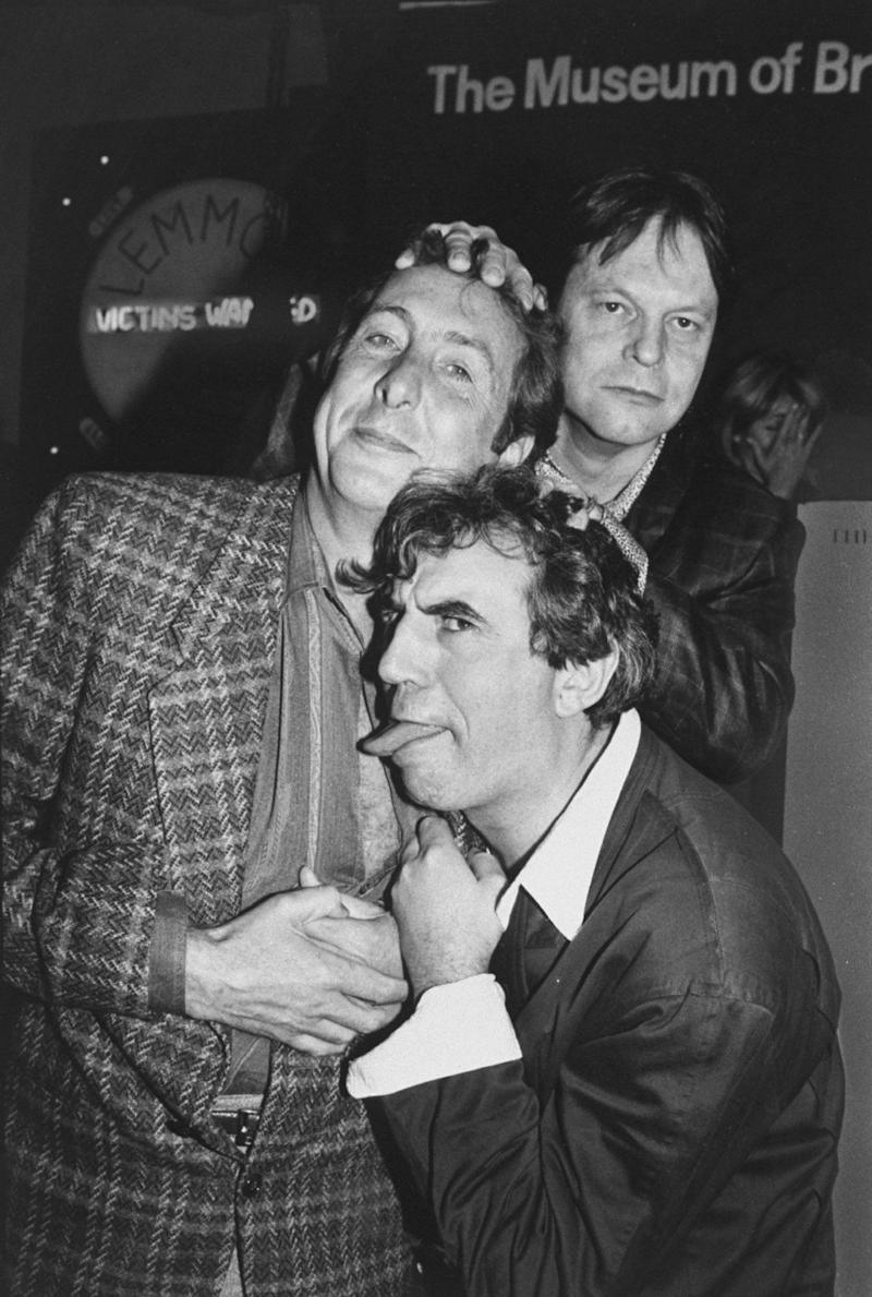 Actors from Monty Python troup (L-R) Eric Idle, Terry Jones & Terry Gilliam at party celebrating troup's 20th anniversary, at Hard Rock Cafe. (Photo by Robin Platzer/Twin Images/Time Life Pictures/Getty Images)