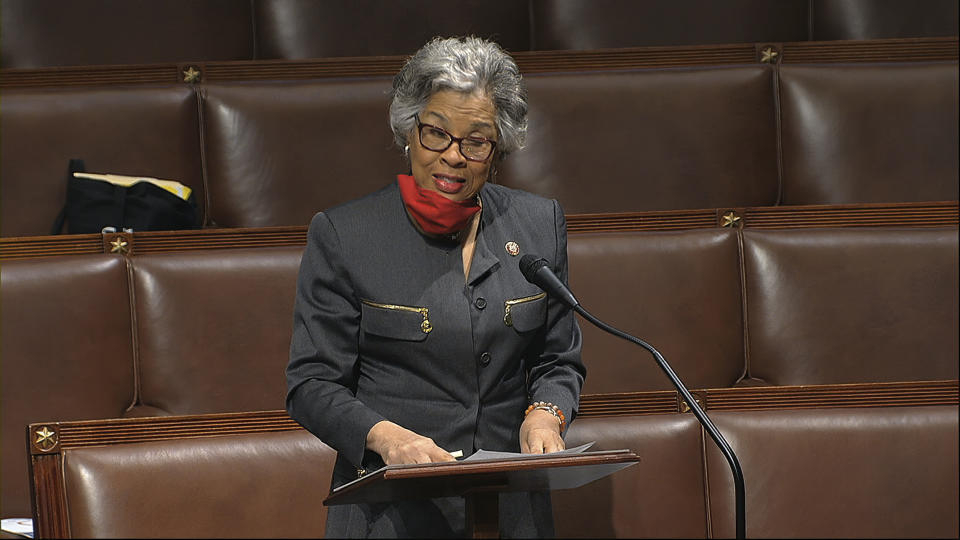 In this image from video, Rep. Joyce Beatty, D-Ohio, speaks on the floor of the House of Representatives at the U.S. Capitol in Washington, Thursday, April 23, 2020. (House Television via AP)