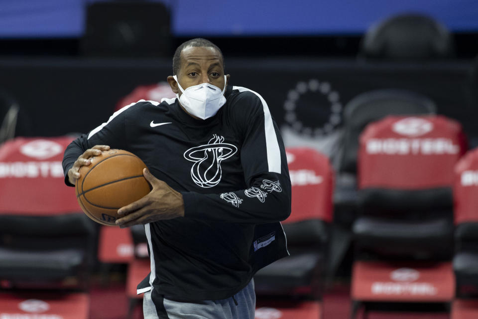 Andre Iguodala #28 of the Miami Heat warms up prior to the game against the Philadelphia 76ers