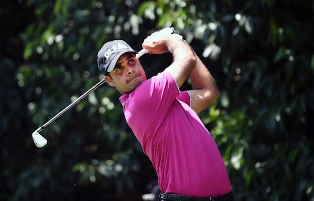 Indian golfer Shubhankar Sharma, pictured on March 3, 2018, earned respect as an up-and-comer to watch (AFP Photo/ALFREDO ESTRELLA)
