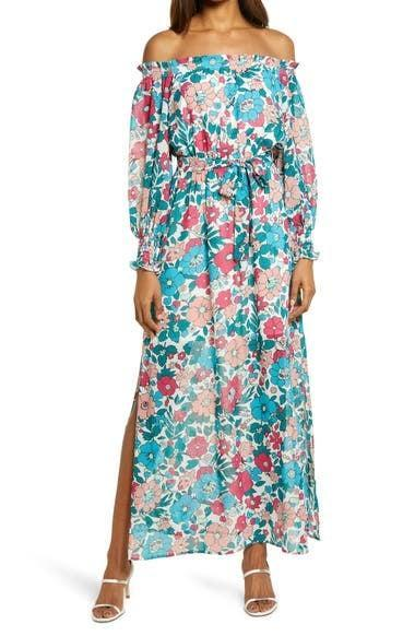 <p>Embrace a retro pattern, and choose the <span>Charles Henry Floral Off the Shoulder Long Sleeve Maxi Dress</span> ($99) for a cool spring night these days.</p>