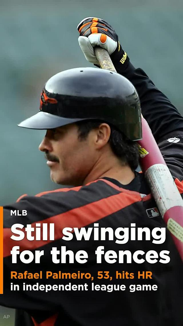 Rafael Palmeiro found his swing on Monday and hit his first home run in a game since he left baseball in 2005.