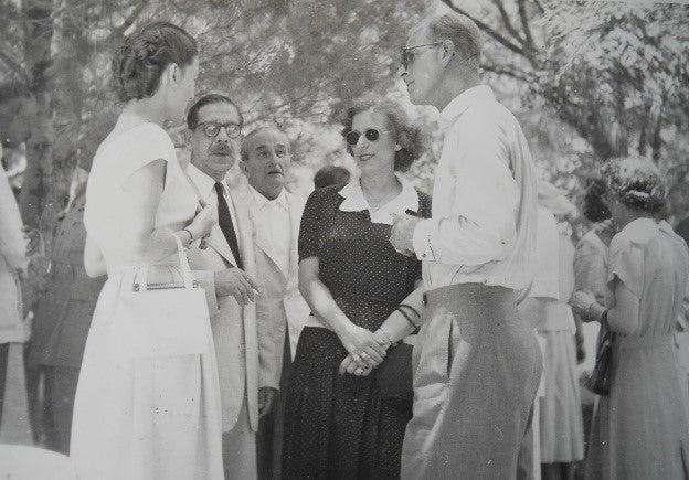 <p>Prince Philip at the Koukouritsa estate on Corfu in 1951, in conversation with locals Moira Manessi, Angelos Lavranos, Dickie Sordinas and Isabella Sordina</p> (Courtesy of Capodistrias Museum, Corfu)