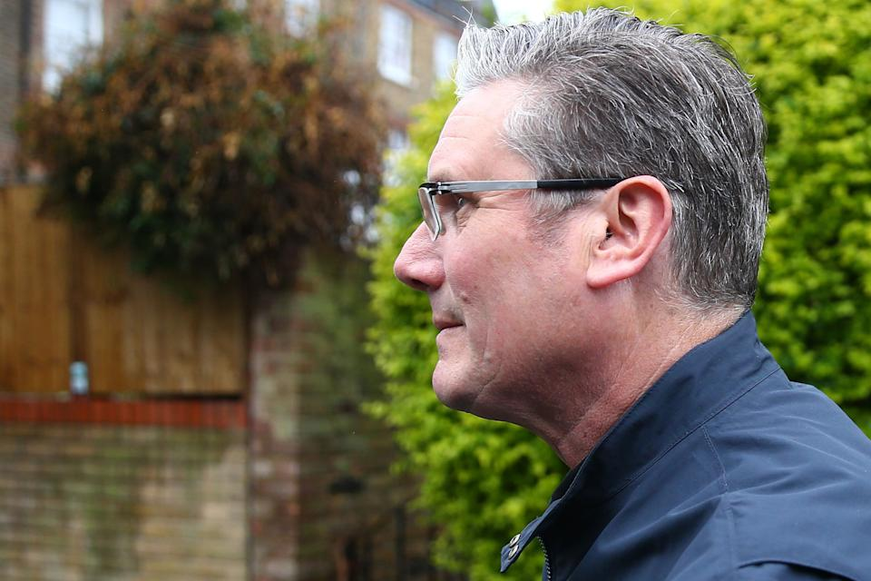 Starmer leaves home on Saturday morning (Photo: Hollie Adams via Getty Images)