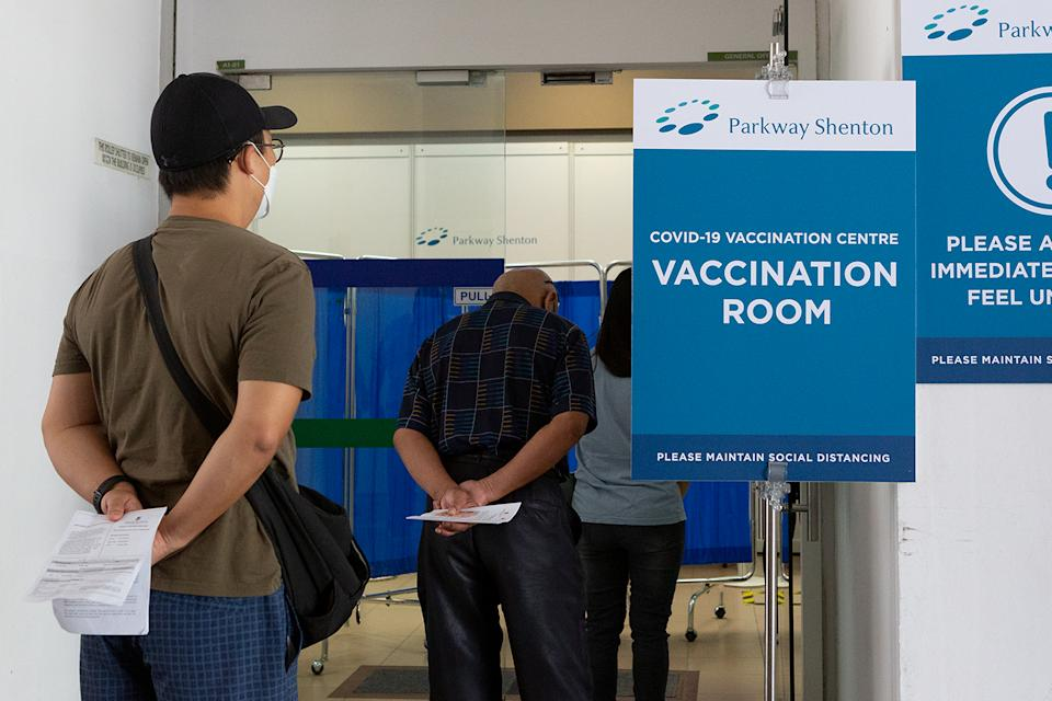 People seen queueing at a vaccination centre in Jurong West on 23 February 2021. (PHOTO: Dhany Osman / Yahoo News Singapore)