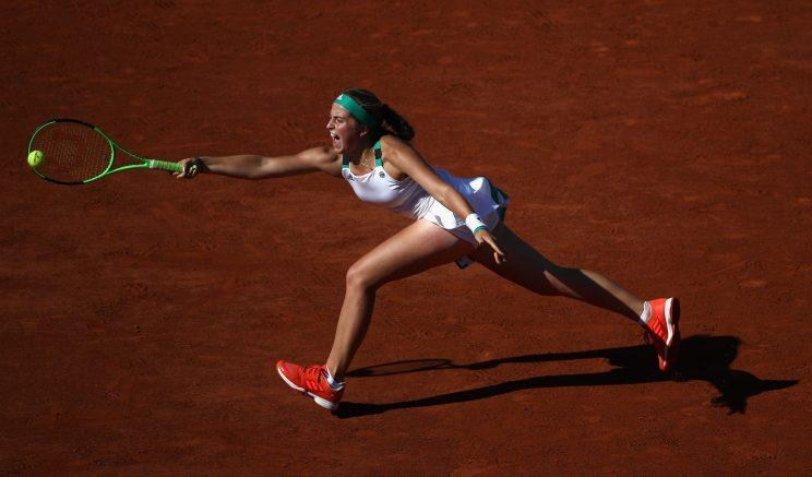 Latvian star Jelena Ostapenko hits a forehand against Timea Bacsinszky during her semifinal match at the 2017 French Open. (Getty Images)