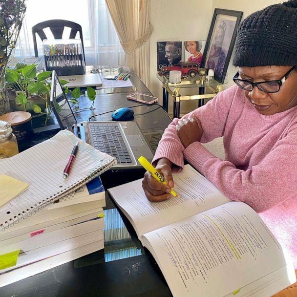 PHOTO: Evelyn Uba, a California mother of four, studies for her state's Bar Exam. (Courtesy Naeche Vincent)