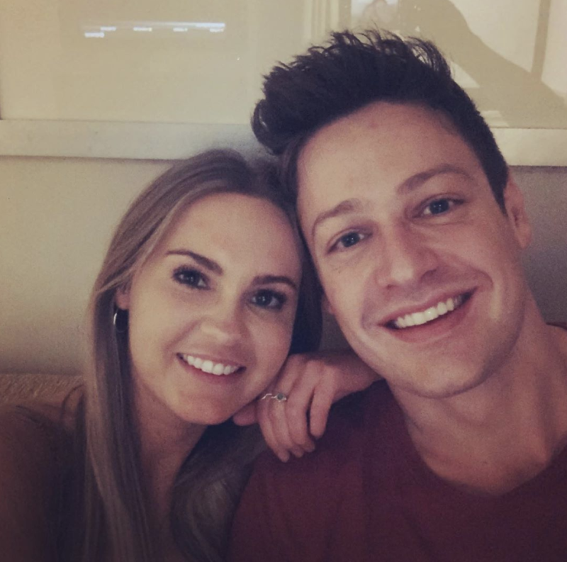 "Chelsie captioned this happy snap with Bachie beau Matt Agnew, ""I love you"". Photo: Instagram/chelsiemcleod."