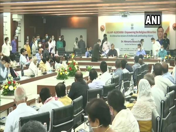 Assam Chief Minister participates in an interaction with 150 intellectuals from the Muslim community in Guwahati. (Photo/ANI)