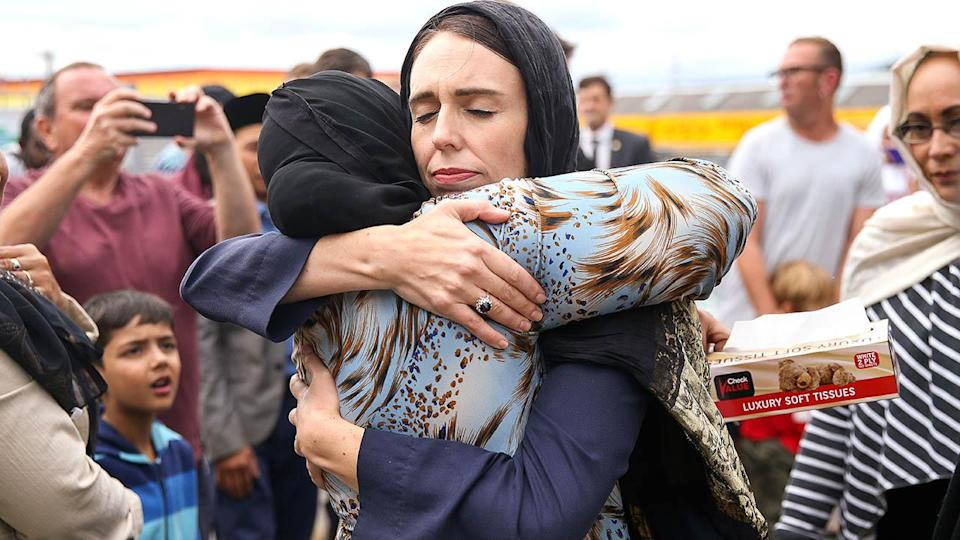 Prime Minister Jacinda Ardern hugs a mosque-goer at the Kilbirnie Mosque in New Zealand. (Photo by Hagen Hopkins/Getty Images)