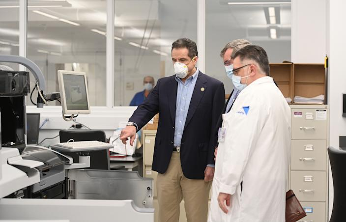 Governor Andrew M. Cuomo, joined by President and CEO of Northwell Health Michael Dowling, travels to Northwell Health's main laboratory in New Hyde Park and then holds a daily briefing on the coronavirus COVID-19 on April 19, 2020. .