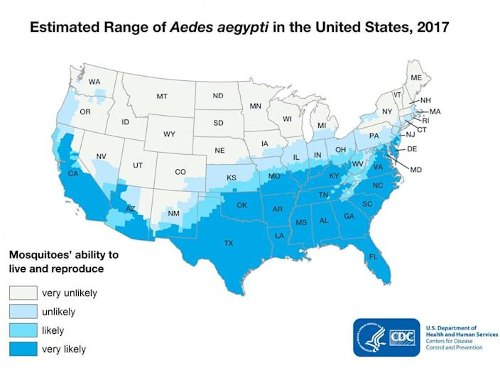 Mosquitoes could start spreading deadly diseases across a huge swathe of the US (CDC)