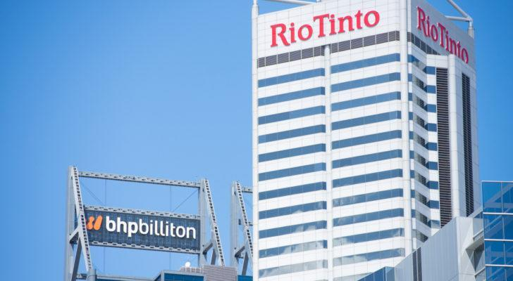 the rio tinto (RIO) logo on a building during daylight