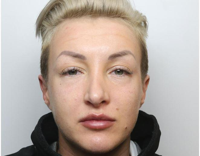 Hannah Gaves, 27, was stopped on her way into Erlestoke Prison (Picture: SWNS)