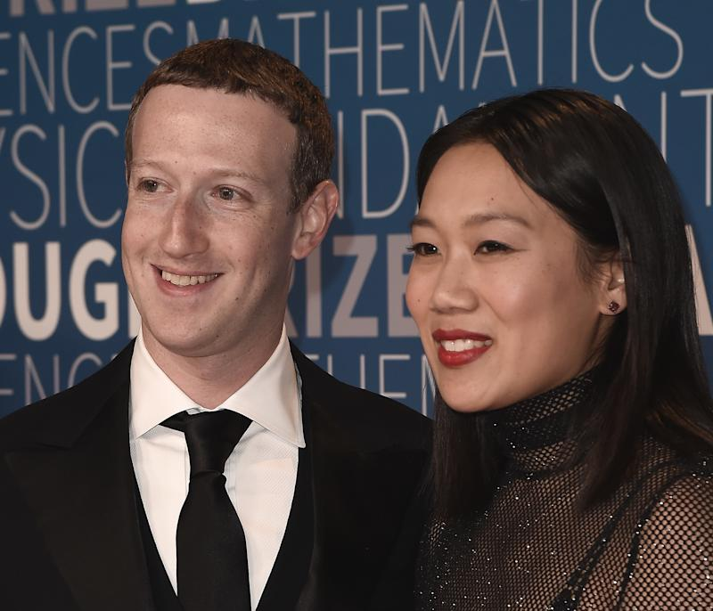 MOUNTAIN VIEW, CA - NOVEMBER 4: Mark Zuckerberg and Priscilla Chan at the 7th Annual Breakthrough Prize ceremony at the NASA Ames Research Center on November 4, 2018 in Mountain View, California. (Photo by Scott Kirkland/PictureGroup/Sipa USA)