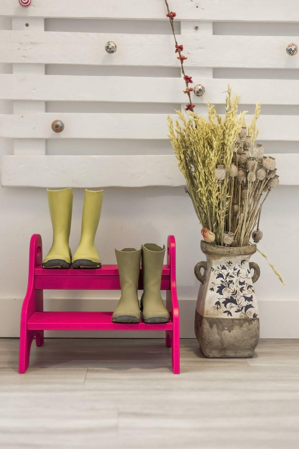 """<p>Leave a cute shoe basket or shelf by the front door (or the<a href=""""https://www.womansday.com/home/decorating/g214/makeover-story-kids-guest-room-115877/"""" rel=""""nofollow noopener"""" target=""""_blank"""" data-ylk=""""slk:kids' bedroom"""" class=""""link rapid-noclick-resp""""> kids' bedroom</a> doors) to avoid those excruciatingly long searches through the house.</p><p><strong><a class=""""link rapid-noclick-resp"""" href=""""https://www.amazon.com/SONGMICS-Organizer-Entryway-Bathroom-ULBS04N/dp/B00NL8NB6S/?tag=syn-yahoo-20&ascsubtag=%5Bartid%7C10070.g.3310%5Bsrc%7Cyahoo-us"""" rel=""""nofollow noopener"""" target=""""_blank"""" data-ylk=""""slk:SHOP SHOE RACKS"""">SHOP SHOE RACKS</a></strong></p>"""