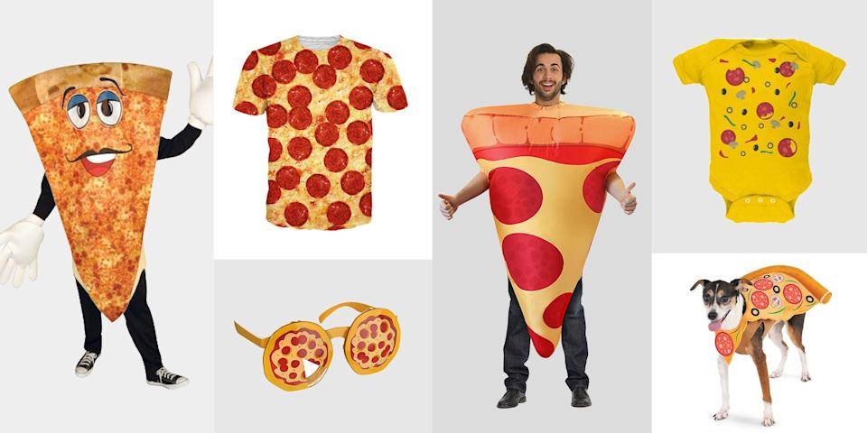 """<p>No matter what the question, pizza is the answer. What should we have for dinner? What should we have for a snack? What should we eat late night post-drinks? What should we dress up as for Halloween this year? There are pizza costumes for families, pups, kids, couples, or just you. Carrying an actual <a href=""""https://www.delish.com/cooking/g269/homemade-pizza-recipes/"""" rel=""""nofollow noopener"""" target=""""_blank"""" data-ylk=""""slk:pizza"""" class=""""link rapid-noclick-resp"""">pizza</a> around on Halloween isn't <em>required,</em> but it is encouraged. Once you're set on the costume, round out your Halloween festivities with the rest of our <a href=""""https://www.delish.com/holiday-recipes/halloween/"""" rel=""""nofollow noopener"""" target=""""_blank"""" data-ylk=""""slk:Halloween party and food ideas"""" class=""""link rapid-noclick-resp"""">Halloween party and food ideas</a>—plus tips for <a href=""""https://www.delish.com/holiday-recipes/halloween/g34114713/how-to-celebrate-halloween-at-home/"""" rel=""""nofollow noopener"""" target=""""_blank"""" data-ylk=""""slk:safely celebrating at home"""" class=""""link rapid-noclick-resp"""">safely celebrating at home</a>.</p>"""