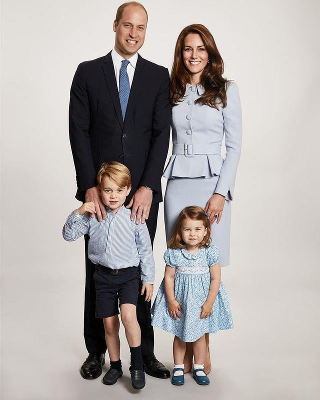 """<p>Blue was the theme of the day in this sweet family photo, with the then family of four posing in light blue attire for the Christmas photo. The snap was sent out months before the royals welcomed Prince Louis into the fold. </p><p><a href=""""https://www.instagram.com/p/Bc14E7EAS3j/?utm_source=ig_web_copy_link"""" rel=""""nofollow noopener"""" target=""""_blank"""" data-ylk=""""slk:See the original post on Instagram"""" class=""""link rapid-noclick-resp"""">See the original post on Instagram</a></p>"""
