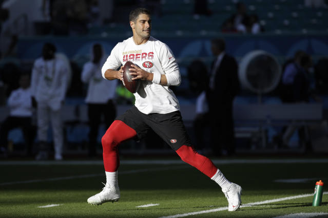 San Francisco 49ers quarterback Jimmy Garoppolo warms up before the NFL Super Bowl 54 football game between the San Francisco 49ers and Kansas City Chiefs Sunday, Feb. 2, 2020, in Miami Gardens, Fla. (AP Photo/Patrick Semansky)