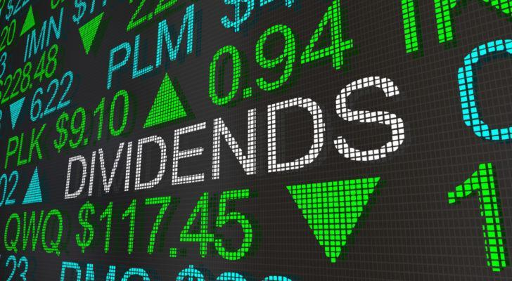 """stock market ticker screen with the word """"dividends"""" appearing in large text"""